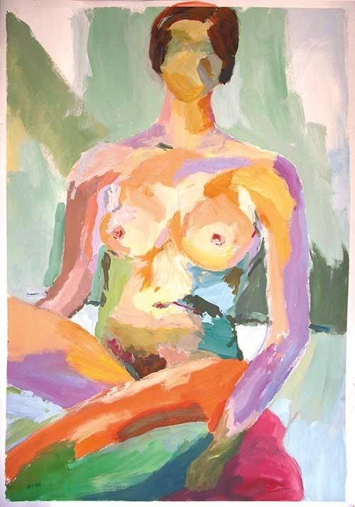 Akt, Tempera, 100x70 cm, 1988