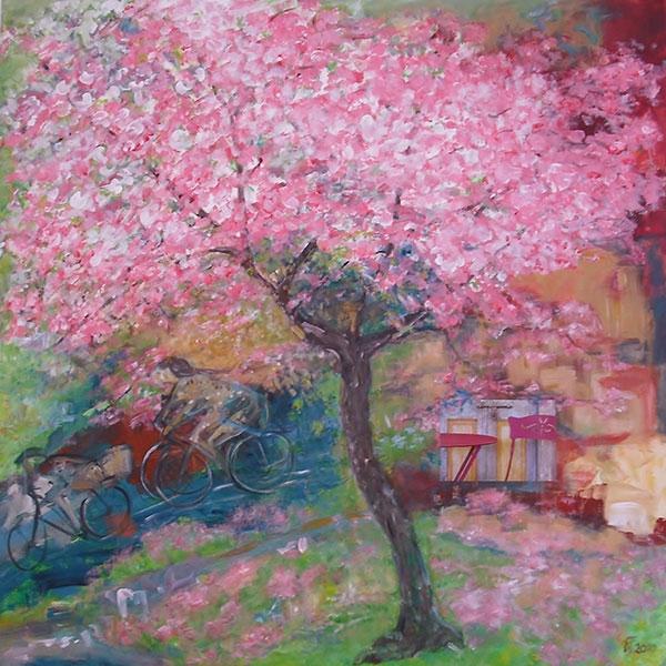 Promenade mit Kirschbüten