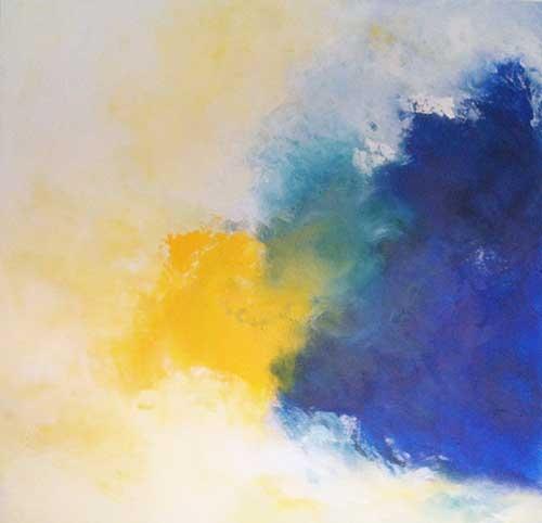 yellow meets blue, Acryl, Pigment, 100x100 cm, 2013