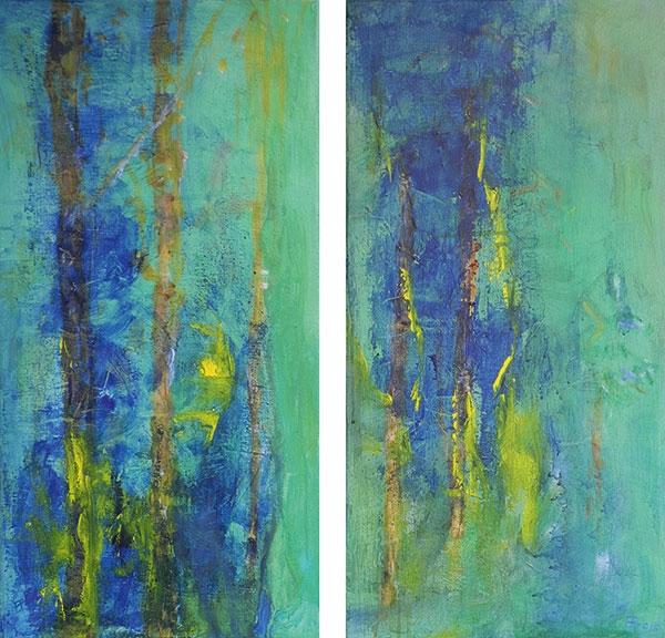 MoorBirken, Spachteltechnik, Acryl, Pigment, Öl, 2x60x30 cm, 2016