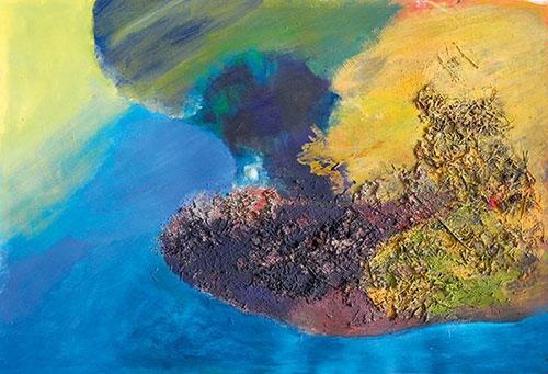Untiefen, Terra di Siena, Acryl, Pigment, Materialcollage, 70x100cm, 2016