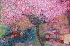 Promenade mit Kirschbüten, Öll, Pigment, Acryl, 100x100 cm