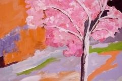 Kirschblüten im Schnee, Acryl, Pigment, 70x80 cm