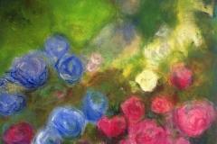 Vom Weiher hör' ich Stimmen, Acryl, Pigment, 100x100 cm, 2013