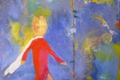Der kleine Prinz – der-Hüter der Rose, Acryl, Pigment, 70x60 cm, 2014