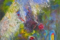 Flüchtender Engel, Öl, Pigment, Acryl, Schilf, Gaze, 90x110 cm, 016