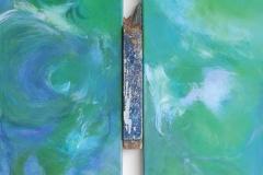 Meerstück, Acryl, Pigment, Öl, Bootsplanke, 2x60x30 cm, 2016