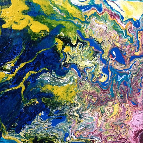 Elemente IV, 2018, 30x30-cm, Liquid, Acryl auf Leinwand