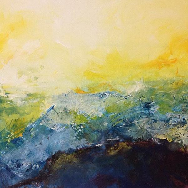 landscape I, Sumpfkalk, Pigment, Acryl auf Leinwand