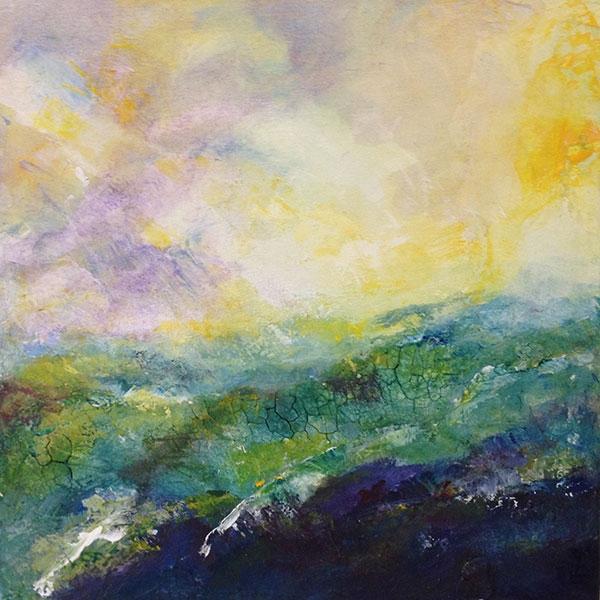 landscape II, 2017, 40x40-cm, Sumpfkalk, Pigment, Acryl auf Leinwand