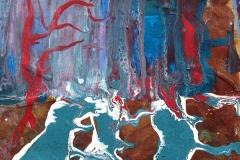 Waldwild, 2018, 20x20 cm, Rost, Liquid, Acryl auf Leinwand